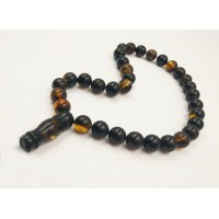Natural Baltic Amber Modified Dark Beads Muslim Prayer
