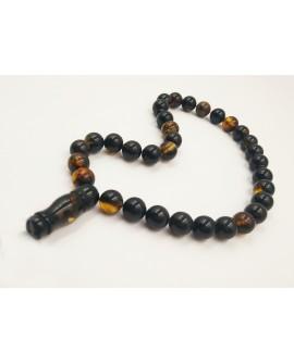Natural Baltic Amber Modified Dark Beads Muslim Prayer